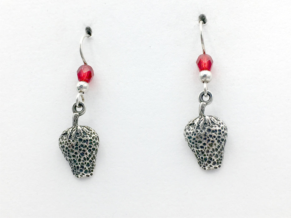 Sterling Silver strawberry dangle earrings-red glass-fruit, berry, strawberries