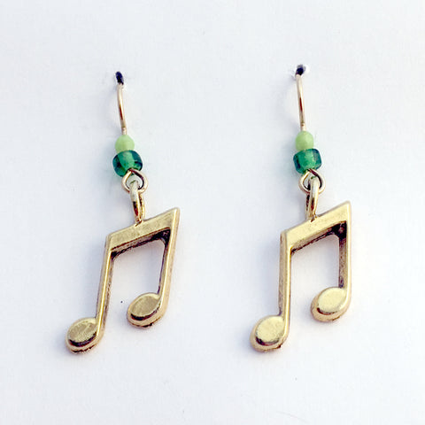 Gold tone Pewter & 14k gf music notes earrings-musician, note, band, musical