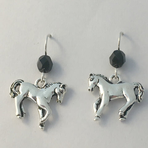 Pewter & Sterling silver horse dangle earrings-horses, equine, pony, foal, colt,