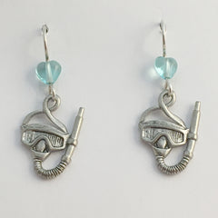Pewter & Sterling silver Scuba Mask  dangle earring-Snorkel, Divers, Dive, swim
