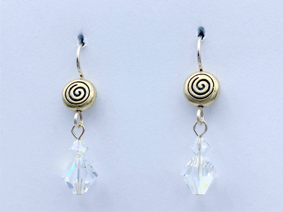 Gold tone Pewter & 14kgf spiral dangle earrings- clear crystal with AB , spirals