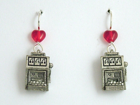 Pewter & Sterling Silver Slot Machine dangle earrings-gambler, slots, gambling