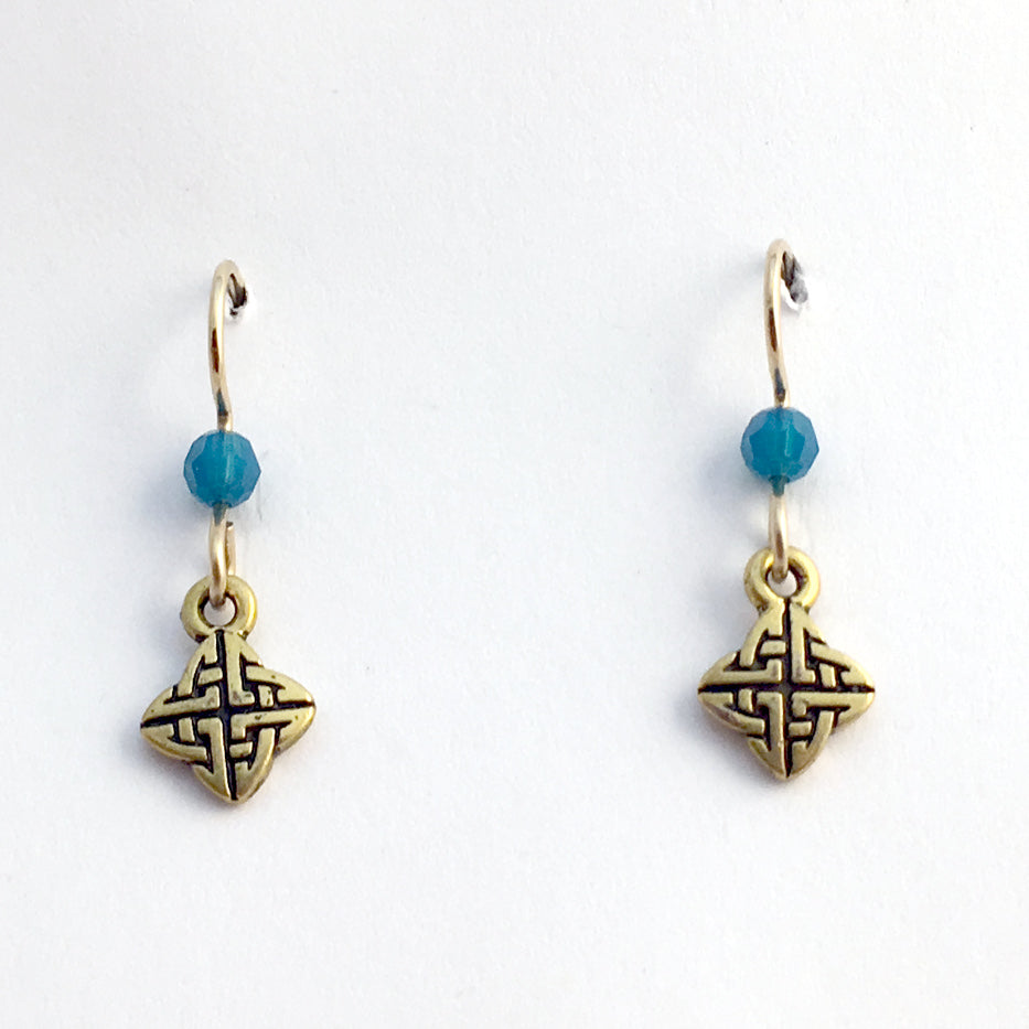Gold tone Pewter &14k gold filled earwire tiny  Celtic knot earrings- crystal