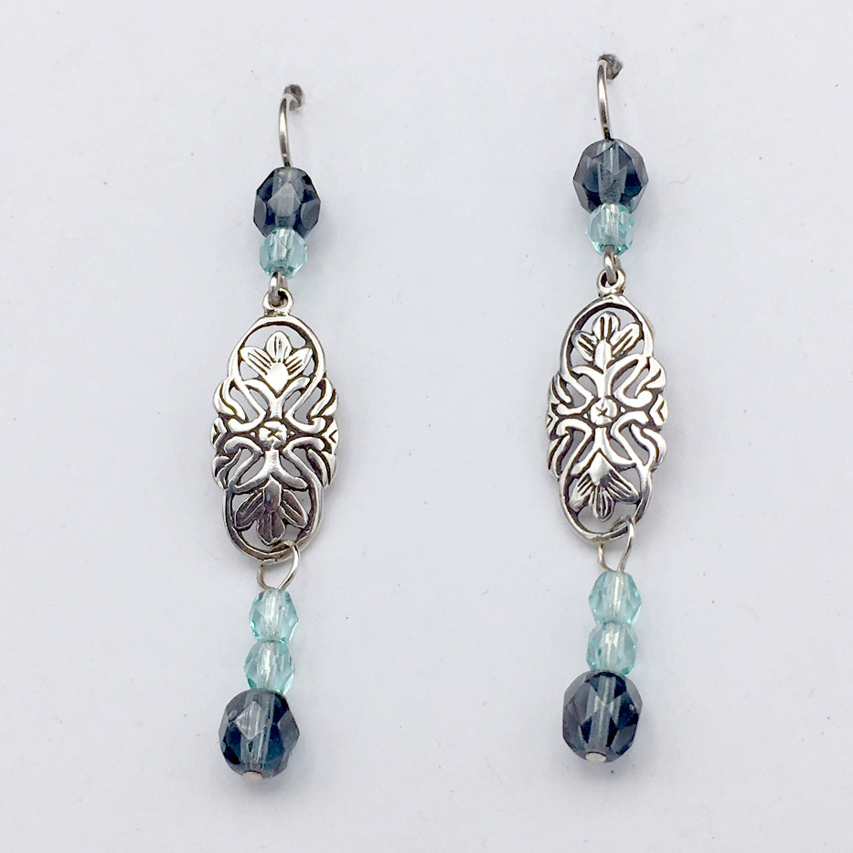 Sterling Silver flower scroll plaque dangle earrings-denim & aqua glass, flowers,floral