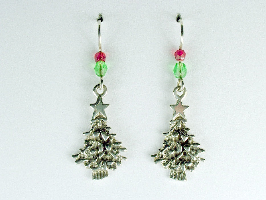 Sterling silver textured Christmas tree with star dangle earrings-trees,Holiday