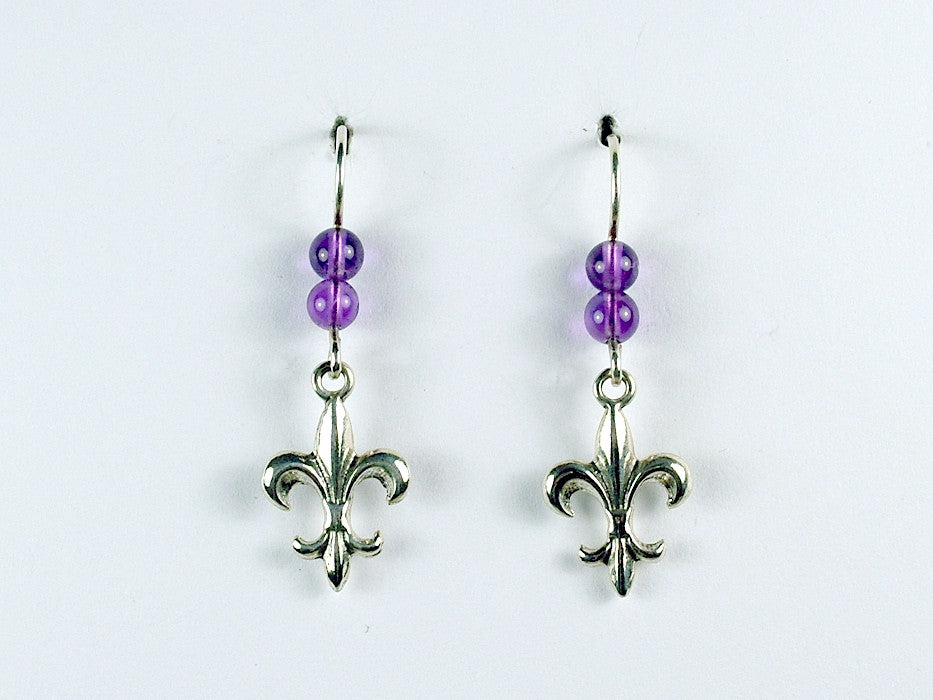 Sterling Silver Fleur-de-lis dangle earrings-French, heraldry, amethyst, lily