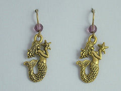 Gold Tone Pewter & 14k GF Mermaid w/ starfish dangle earrings-Fantasy- siren,sea