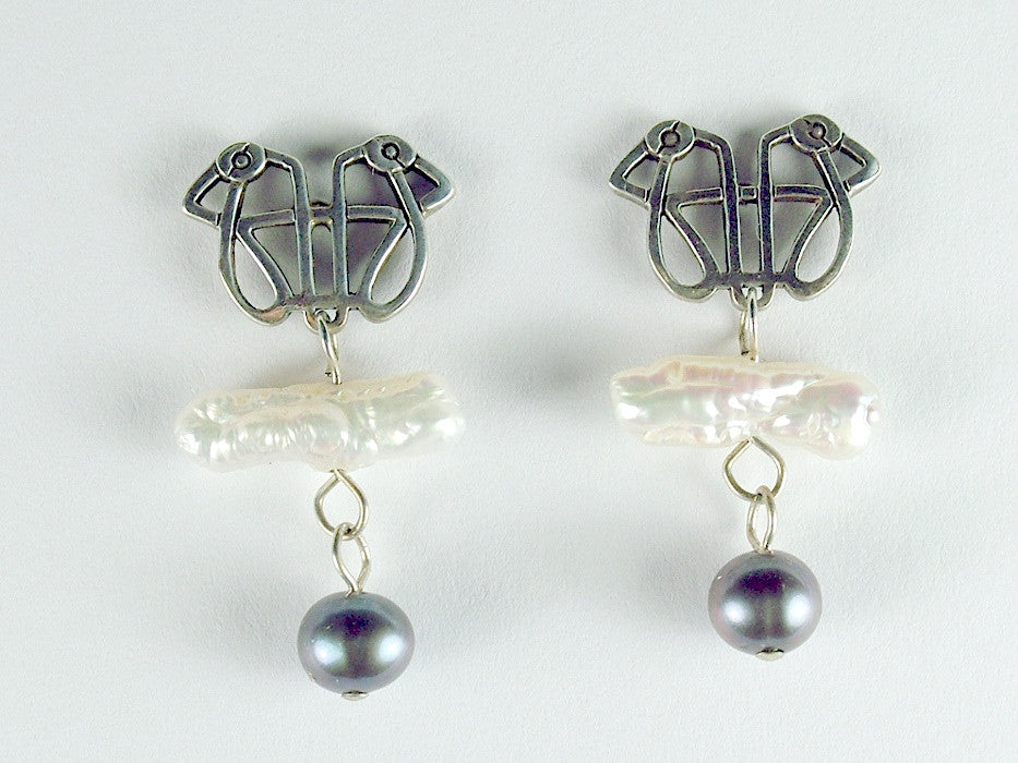 Sterling Silver Celtic zoomorphic  Knot bird stud Earrings-freshwater pearls,
