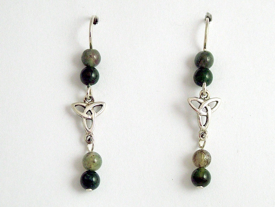 Sterling silver Celtic Trinity knot dangle earrings-moss agate,Triquetra, knots