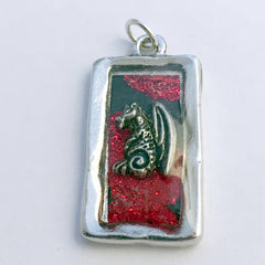 Pewter frame, sterling silver dragon pendant-resin,dragons, fantasy, red, spiral