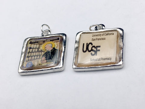 2 Pewter frame with Pharmacy related designs  pendant-resin- special order