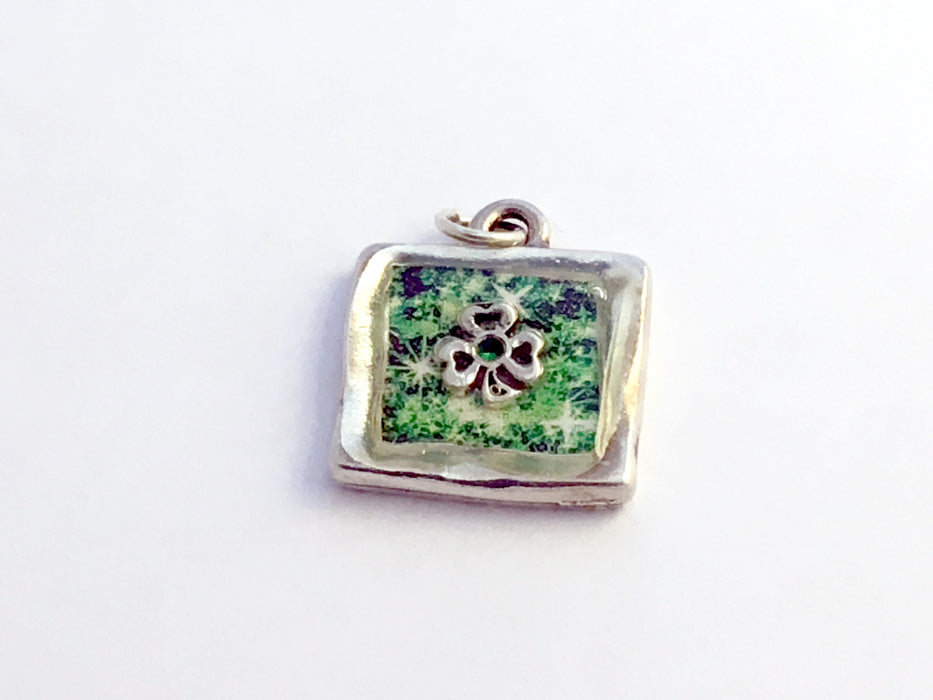 Square Pewter pendant with Sterling Silver Shamrock- emerald green, Irish,celtic