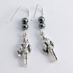 Sterling Silver Knight in Full Armor dangle earrings-Fantasy- Knights,Ren Faire