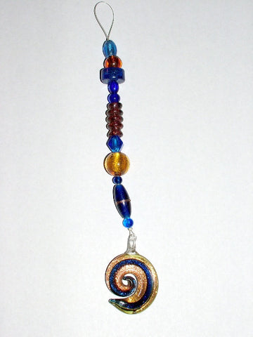 Cobalt Blue and Copper color spiral Glass Window Jewelry- suncatcher