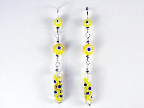 Sterling silver & yellow,cobalt blue glass beads dangle earrings-millefiori,fun
