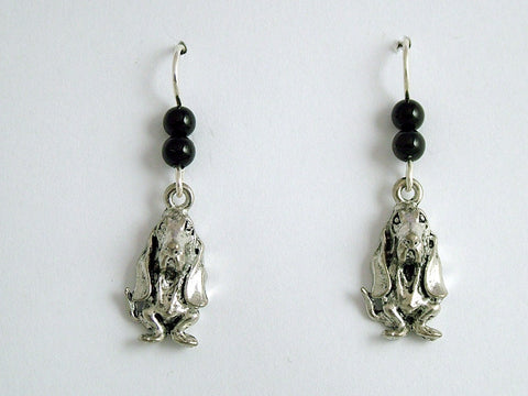 Pewter & sterling silver basset hound earrings-black onyx-dog, hounds, dogs
