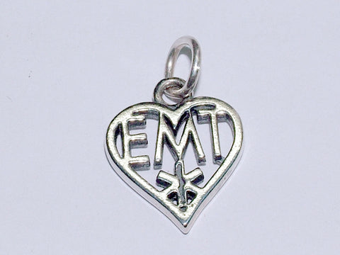 Sterling Silver  EMT in heart  charm or pendant- Emergency Medical Technician