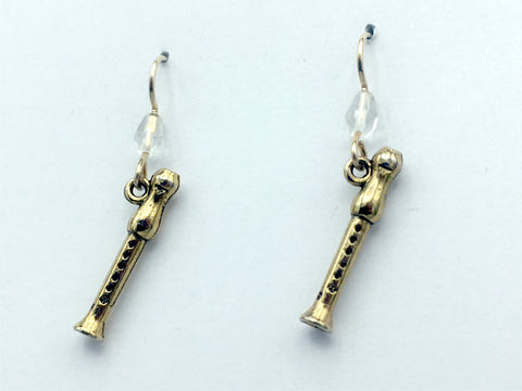 Gold tone Pewter & 14k gold filled recorder dangle earrings- music,band, recorders