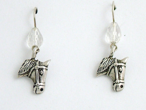 Sterling silver horse head dangle earrings-horses, equus, equine, crystal, pony