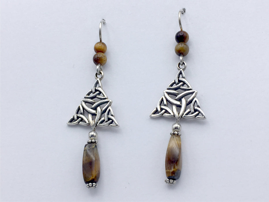 Sterling Silver multiple Celtic Trinity knot dangle Earrings-Tiger Eye dangle