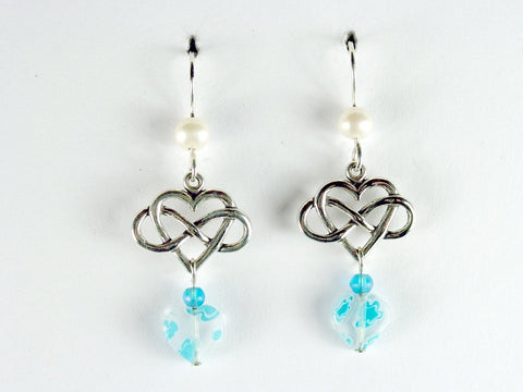 Sterling Silver Infinity Heart dangle Earrings-freshwater pearls,aqua millefiori