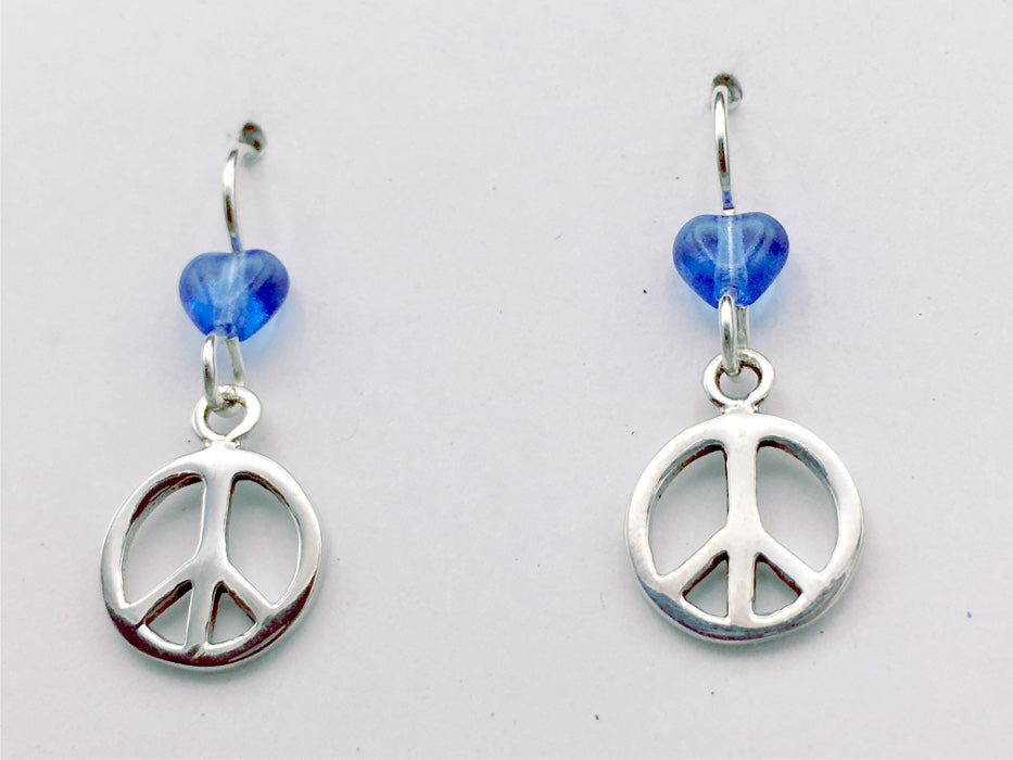 Sterling silver  peace sign dangle earrings- world, signs, peaceful, heart