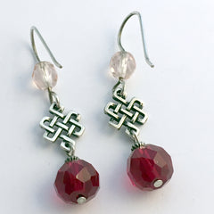 Pewter & Sterling Silver Celtic Knot  Earrings-Endless- Eternal, Tibetan, red
