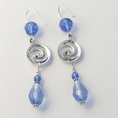 Sterling Silver double Spiral  Earrings-blue crystal, Celtic, Spirals, 2 1/2 in