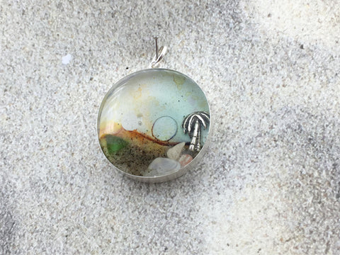 Sterling silver 25mm Round Pendant with Shell, Shells, Sand, Sea glass, Palm Tree, stones,  shore, Moon, Sun alcohol ink art, island, beach comber