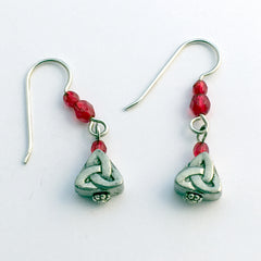 Pewter & sterling silver Celtic Trinity knot dangle earrings-red glass- knots