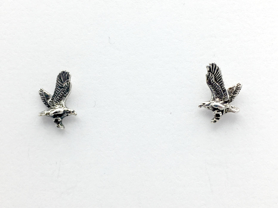 Sterling Silver & Surgical Steel flying eagle stud earring- bird of prey, eagles