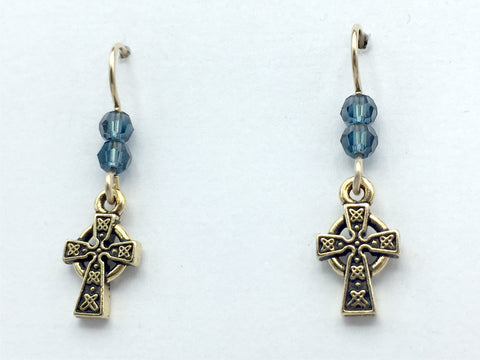 Gold tone Pewter & 14k gf small Celtic Cross dangle earrings- Denim blue crystal