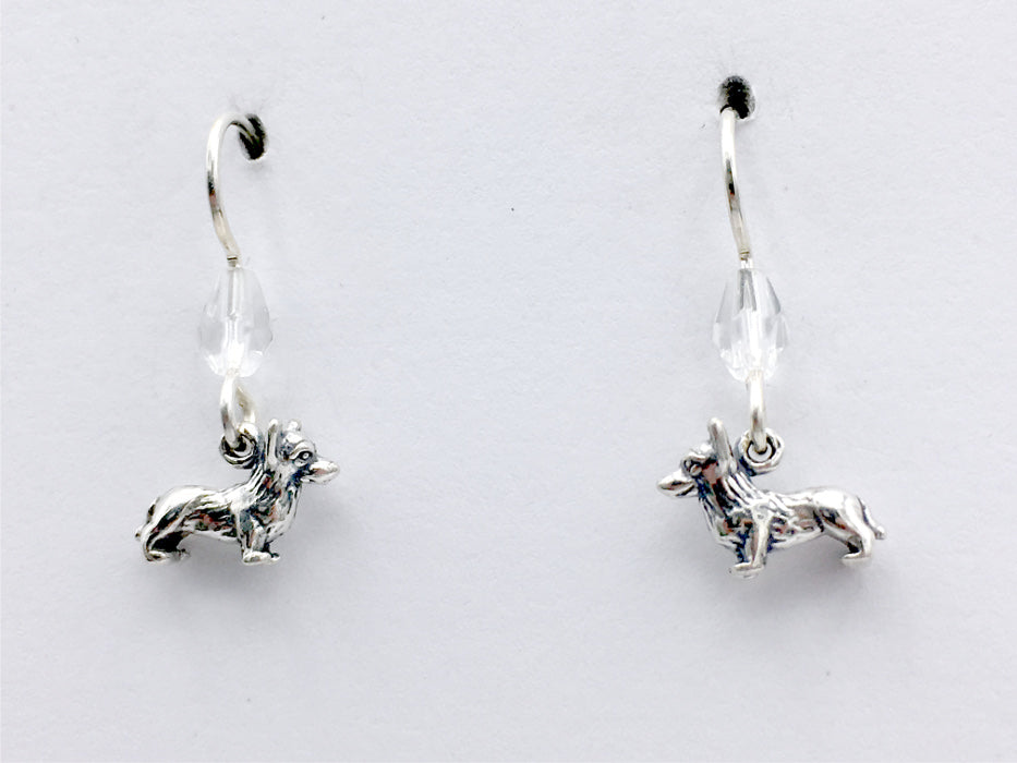 Sterling silver tiny corgi dog dangle Earrings-corgis, Pembroke, Cardigan Welsh