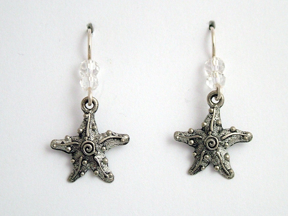 Pewter & Sterling silver starfish w/ spiral earrings-ocean-coast- sea, star fish
