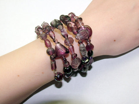 4 Strand Glass lampwork bead, crystal and amethyst bead Memory Wire Bracelet,  Purples