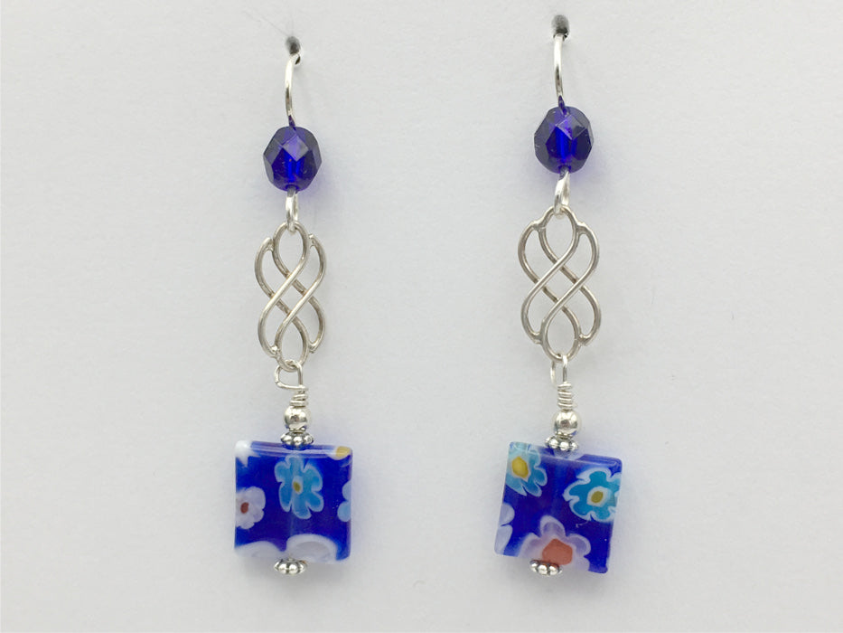Sterling Silver Celtic Knot dangle earrings- Millefiori glass, cobalt blue, white, flowers