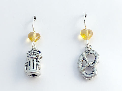 Pewter & Sterling silver beer stein & pretzel dangle Earrings-soft pretzels,bier