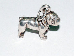 Sterling Silver  3-D bull dog charm or pendant- bulldog, english, dogs