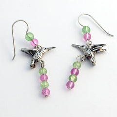 Pewter & Sterling silver hummingbird dangle earrings- green,hot pink glass, bird