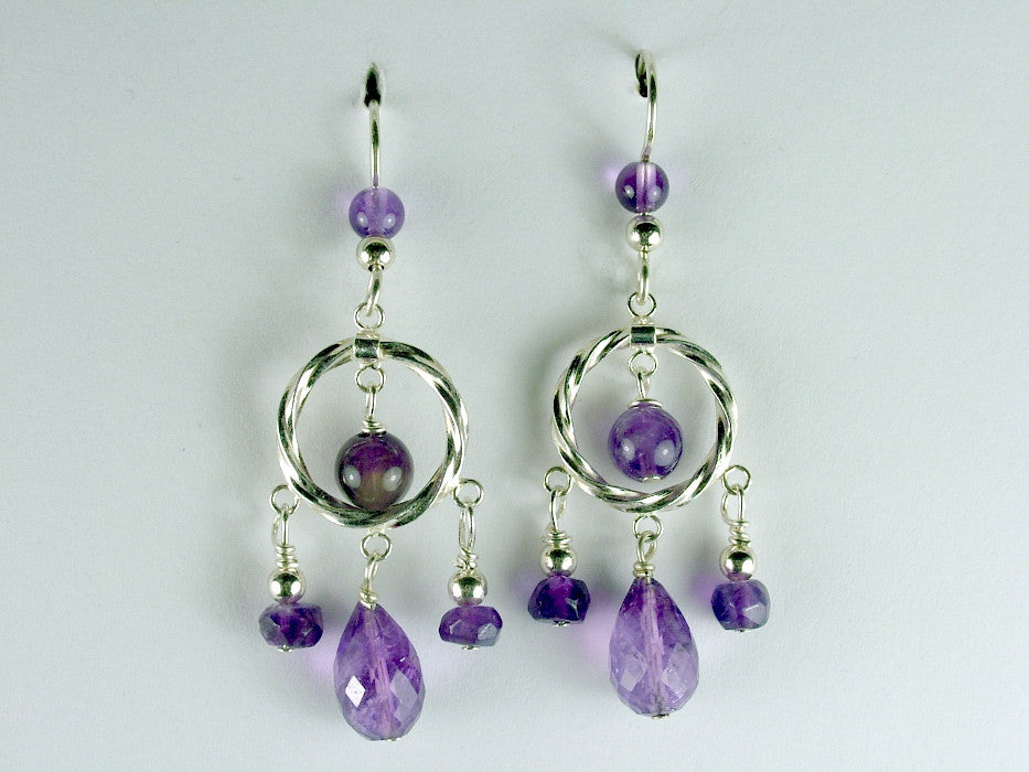 Sterling silver twisted circle, faceted Amethyst beads dangle earrings- February