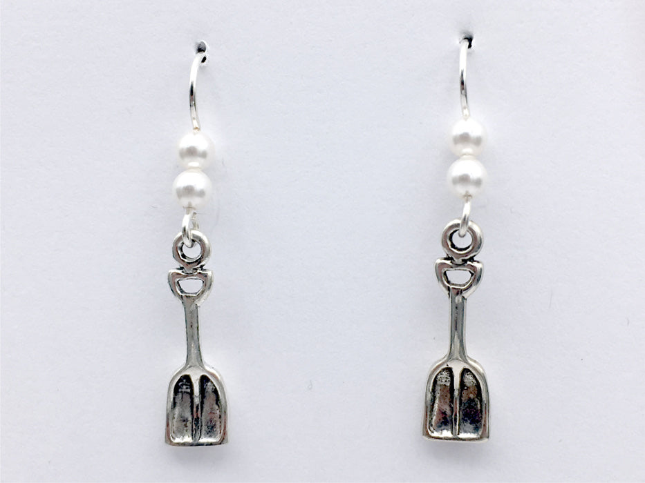 Sterling Silver Snow Shovel Dangle  earrings- winter- sledding, skiing, holiday