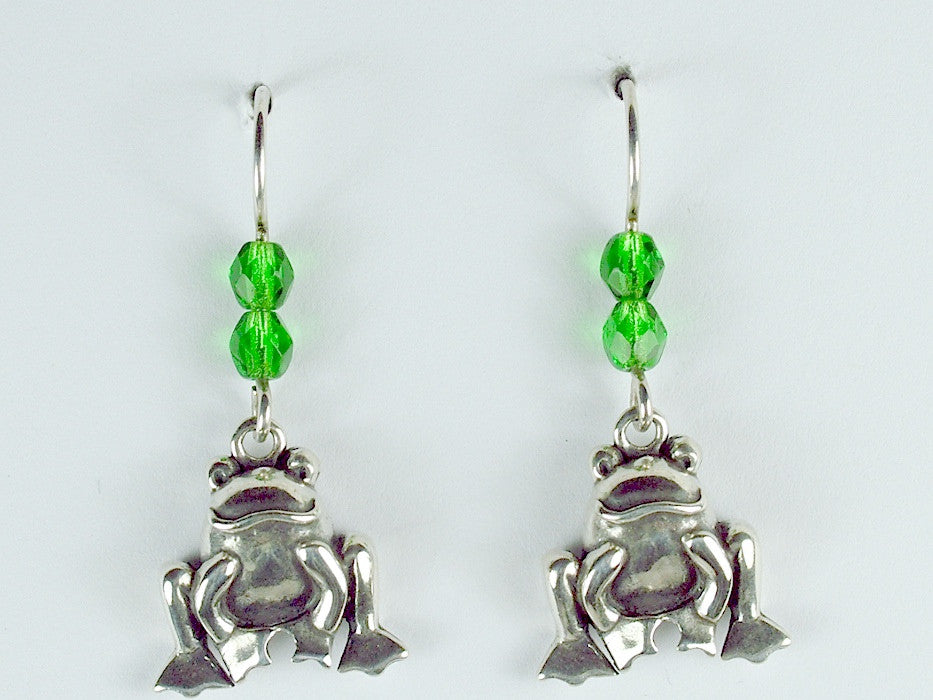Sterling silver squatting happy frog dangle earrings-glass- frogs, amphibians
