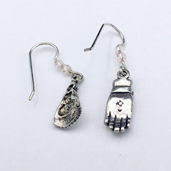 Sterling Silver Ski glove and hat dangle  earrings-skiing-snow -winter- sledding