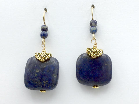 Goldtone Pewter spiral beadcap and 14k gold filled wire and Lapis Lazuli square bead dangle earrings- spirals
