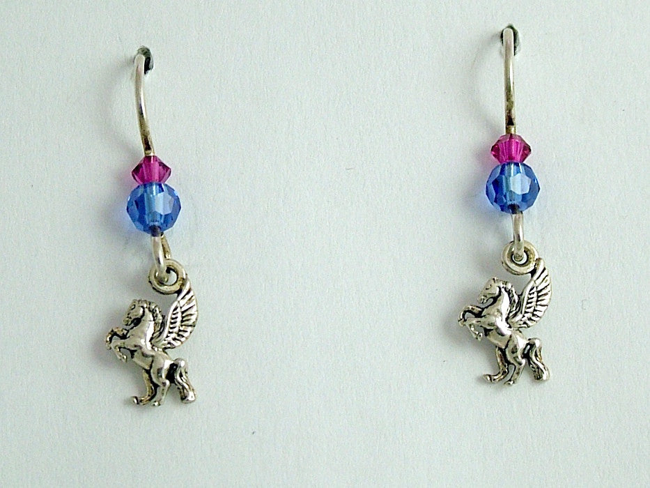 Sterling silver tiny Pegasus dangle earrings- crystal-Fantasy-Winged Horse- mythology
