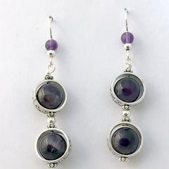 Sterling Silver and Amethyst bead wave band earrings- amethysts, February
