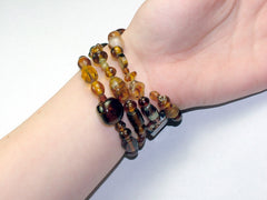 4 Strand Glass lampwork bead, crystal bead Memory Wire Bracelet, Browns