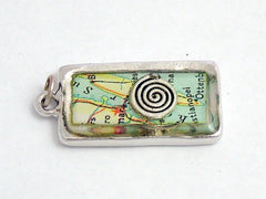 Pewter Frame with spiral and vintage Sweden map print pendant-resin, spirals