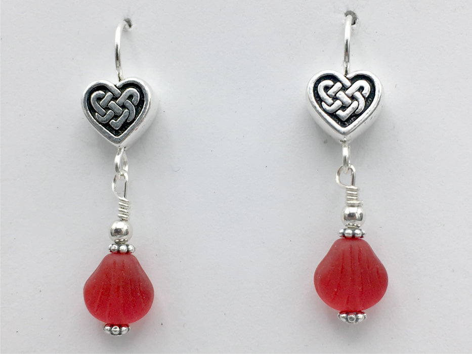 Pewter & sterling silver Celtic Knot Heart dangle earrings-red glass-Valentine