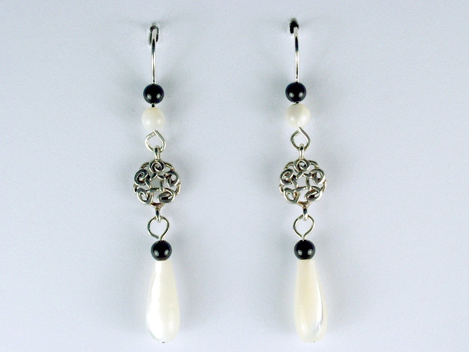 Sterling Silver small round Celtic Knot dangle Earrings-mother of pearl, onyx